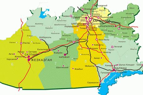 Карта Карагандинской Области Подробная