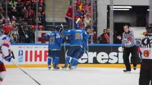 Хоккеисты сборных Казахстана и России забросили шесть шайб на двоих в первом периоде