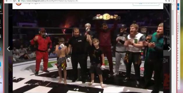 Десятилетний сын Кадырова за 14 секунд нокаутировал соперника в своем первом бою