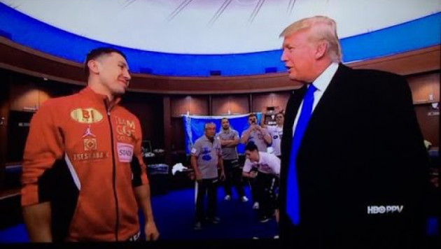 Появилось видео, как новый президент США Трамп ждет Головкина в раздевалке перед боем с Лемье
