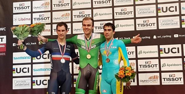 Казахстанский велогонщик выиграл бронзовую медаль на этапе Кубка мира