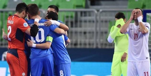 Видеообзор победного матча сборной Казахстана против Польши на Евро-2018 по футзалу