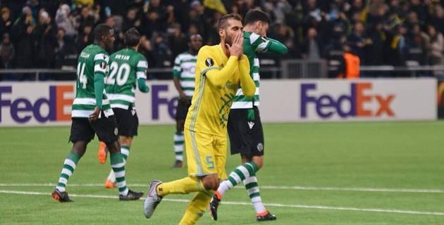"""""""Астана"""" пропустила три гола за восемь минут и упустила победу над """"Спортингом"""" в плей-офф Лиги Европы"""