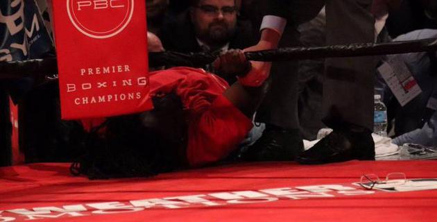 В андеркарте боя Стивенсон - Джек разъяренный фанат пытался прорваться в ринг