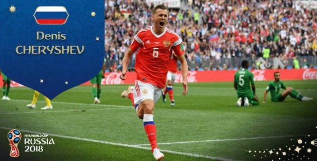 Россиянин Денис Черышев признан лучшим игроком матча открытия ЧМ-2018 по футболу