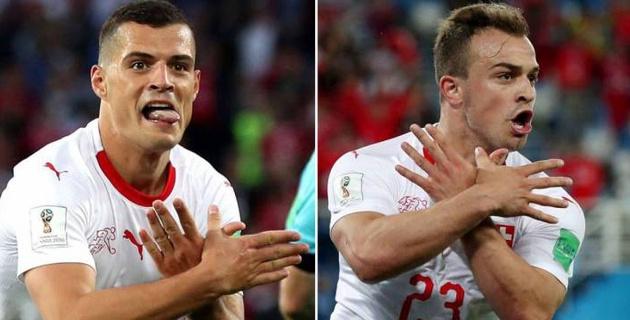 Игроков сборной Швейцарии оштрафовали за показ орла с флага Албании в матче с Сербией на ЧМ-2018