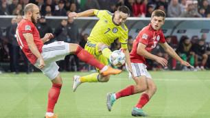Сборная Казахстана играет вничью с Грузией после первого тайма матча Лиги наций