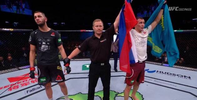 Видео первой победы казахского бойца Дамира Исмагулова в UFC