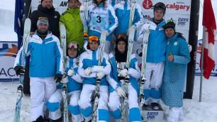 Казахстанские фристайлисты исполнили гимн Казахстана после победы Галышевой на этапе Кубка мира