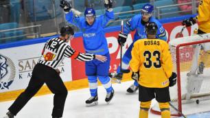 Видеообзор победного матча Казахстана с автоголом и двумя незасчитанными шайбами на ЧМ-2019
