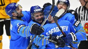 Сборная Казахстана по хоккею обыгрывает Беларусь после стартового периода матча за первое место ЧМ-2019