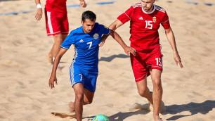 Видеообзор матча, или как Казахстан забил девять мячей Венгрии в промофинале пляжного футбола
