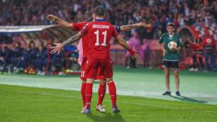 """Футболисты """"Кайсара"""" и """"Жетысу"""" сыграли в победном матче своей сборной в отборе на Евро-2020"""
