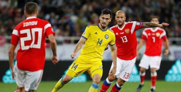 Сборная Казахстана из-за гола в концовке проиграла России в матче отбора на Евро-2020