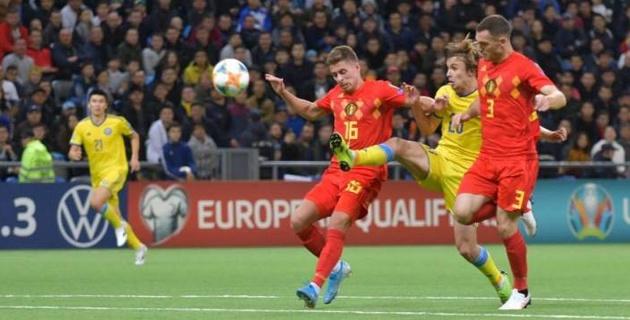 Мы не были мальчиками для битья - форвард сборной Казахстана о поражении от Бельгии в отборе на Евро-2020