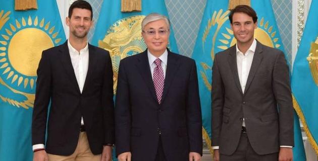 Президент Казахстана встретился с Надалем и Джоковичем