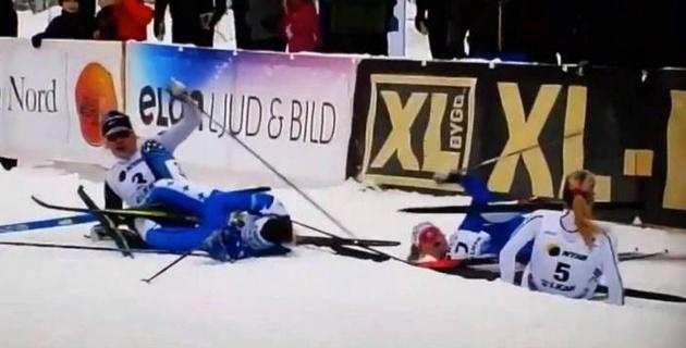 Пять шведских лыжниц угодили в завал и подарили победу сопернице