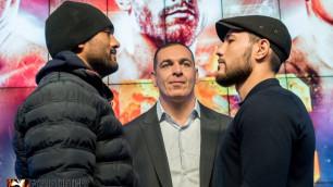Казахстанский нокаутер с титулом WBC провел дуэль взглядов перед боем в карде Лемье