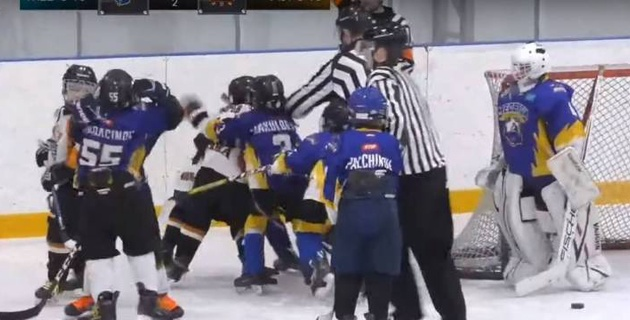 """""""Понеслась, мужики. Конор отдыхает"""". Комментатор украсил массовую драку 9-летних хоккеистов в Казахстане"""