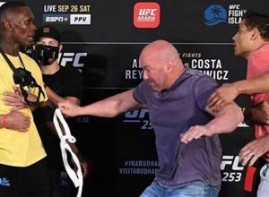 Адесанья и Коста чуть не подрались на взвешивании перед боем на UFC 253